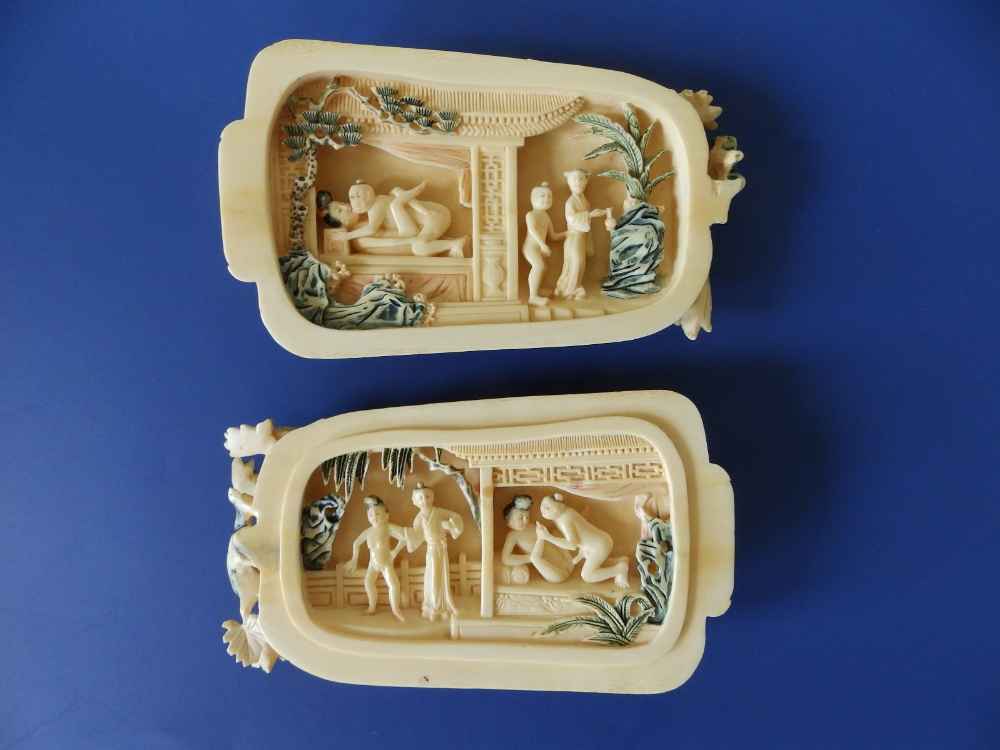 A late 19th/early 20thC Chinese erotic carved ivory study in the form of a flowering gourd, undercut - Image 5 of 5