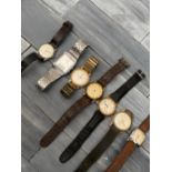 Seven gents' vintage wrist watches, including Oris, Aircraft, Times, Rone, Marcel & Citizen.