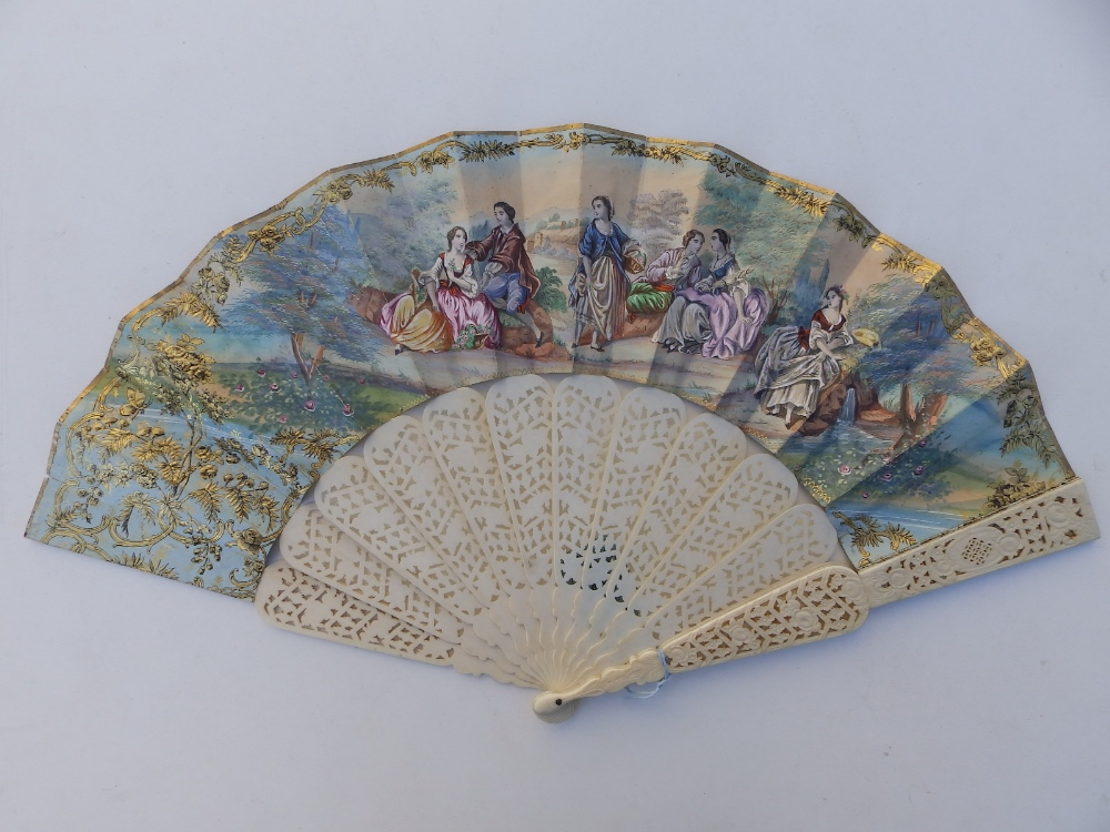 """A large 19thC bone fan, the silk leaf decorated with lace and painted birds, 26"""" across - one - Image 2 of 6"""