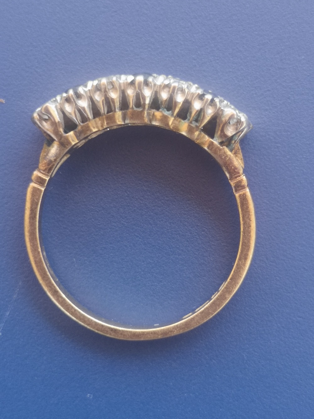 A sapphire & diamond ring set as two rows in 18ct gold. Finger size M/N. - Image 2 of 2