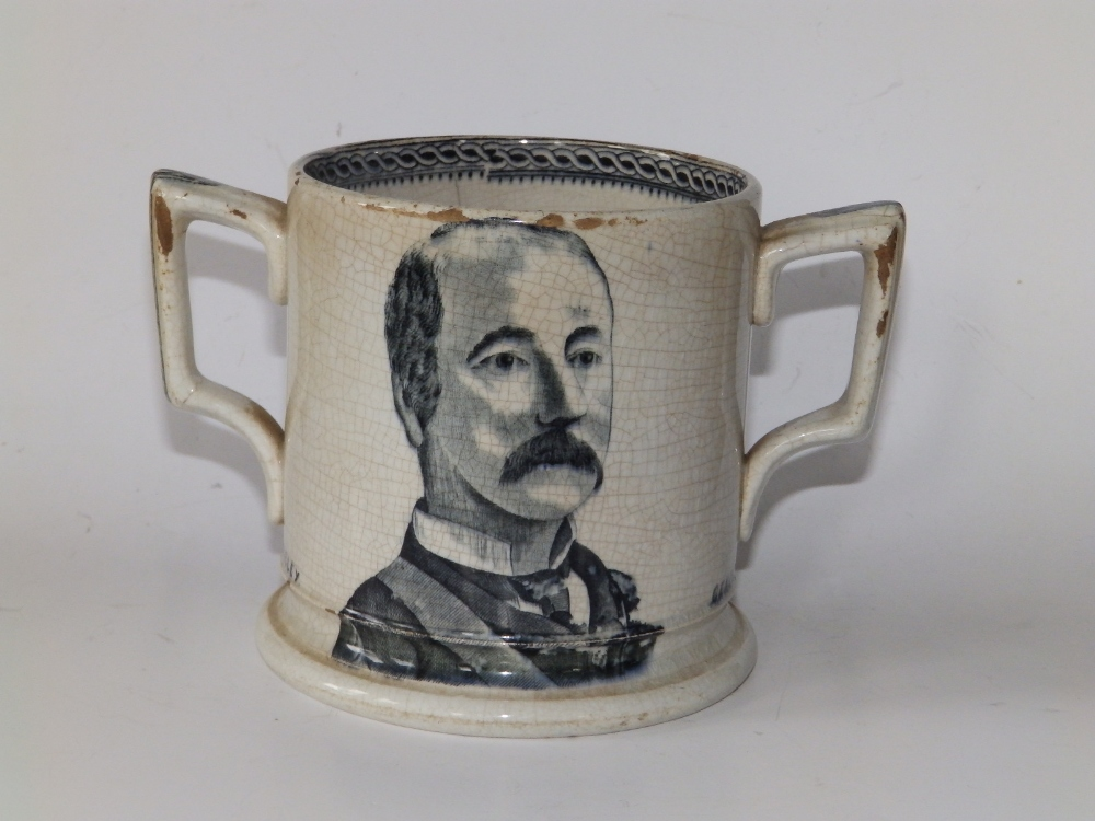 """A Victorian black & white printed earthenware loving cup - 'Lord Wolseley, General Gordon', 6.5"""""""
