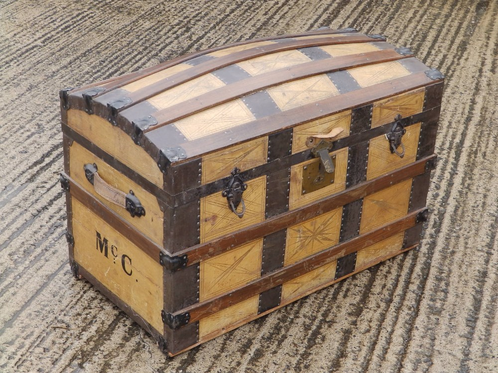 """A domed wooden bound cabin trunk with paper lined interior compartments, 32"""" across. - Image 3 of 10"""