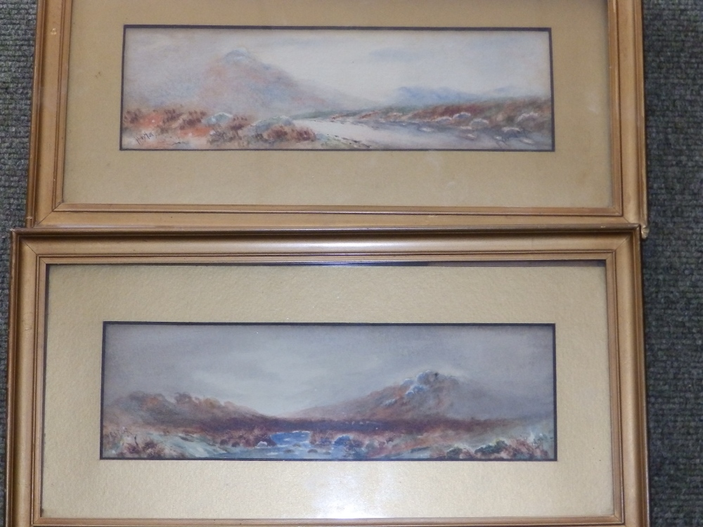 """Wisford (?) - a small pair of watercolours - 'Yestor' and 'Haytor', indistinctly signed, 3"""" x"""