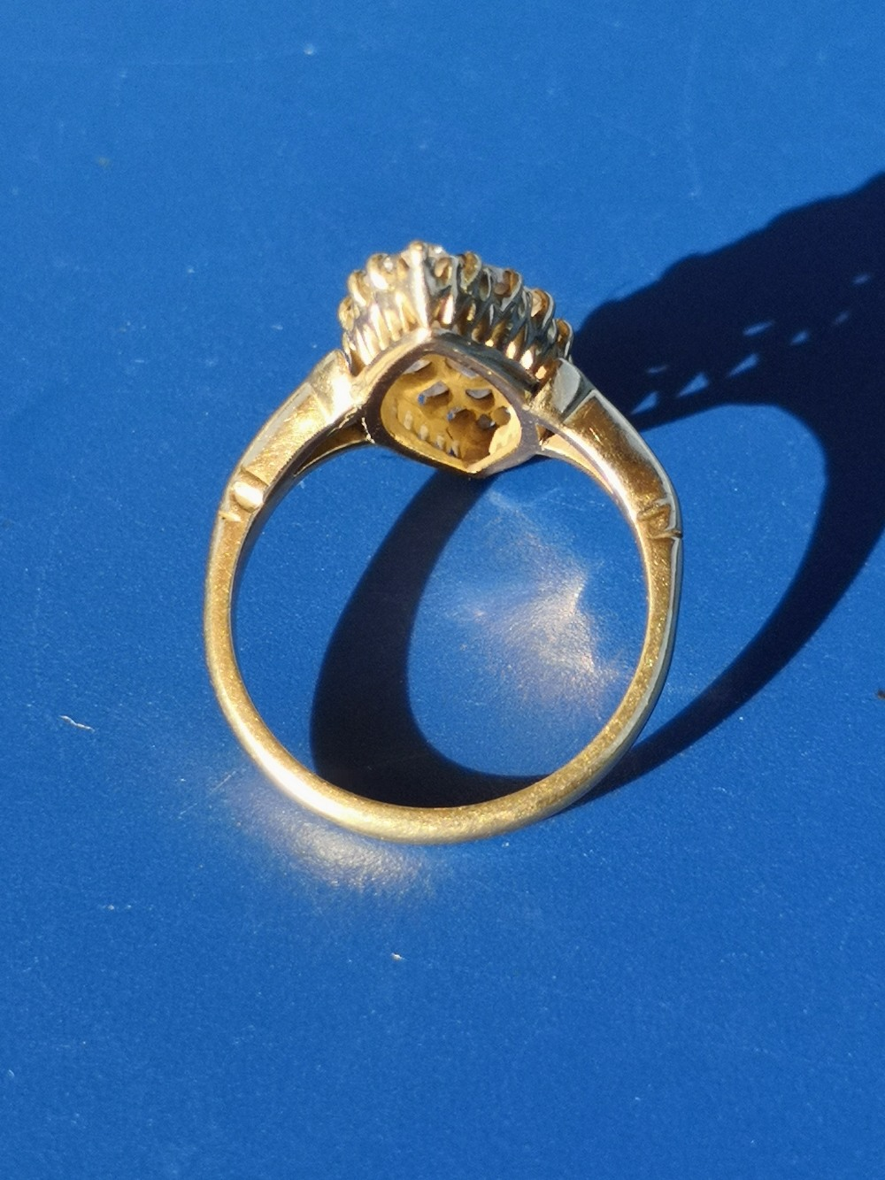 A marquise pave set diamond ring in '18ct' gold. Finger size P. - Image 3 of 3