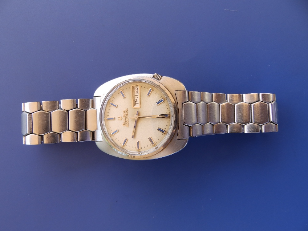 A gent's stainless steel Bulova Accutron Day/Date , with centre seconds, blue baton numerals.