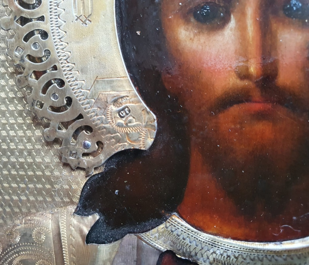 """A Russian silver-gilt icon with painted details, raised halo - hallmarks for 1896-1908 period, 9"""" - Image 2 of 5"""