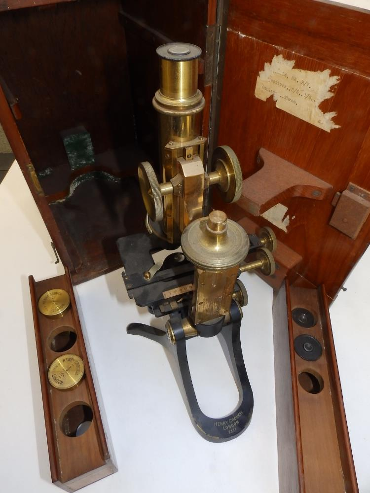 A brass & black lacquered microscope by Henry Crouch, London 9804, bearing War Department marks 'H7' - Image 3 of 4