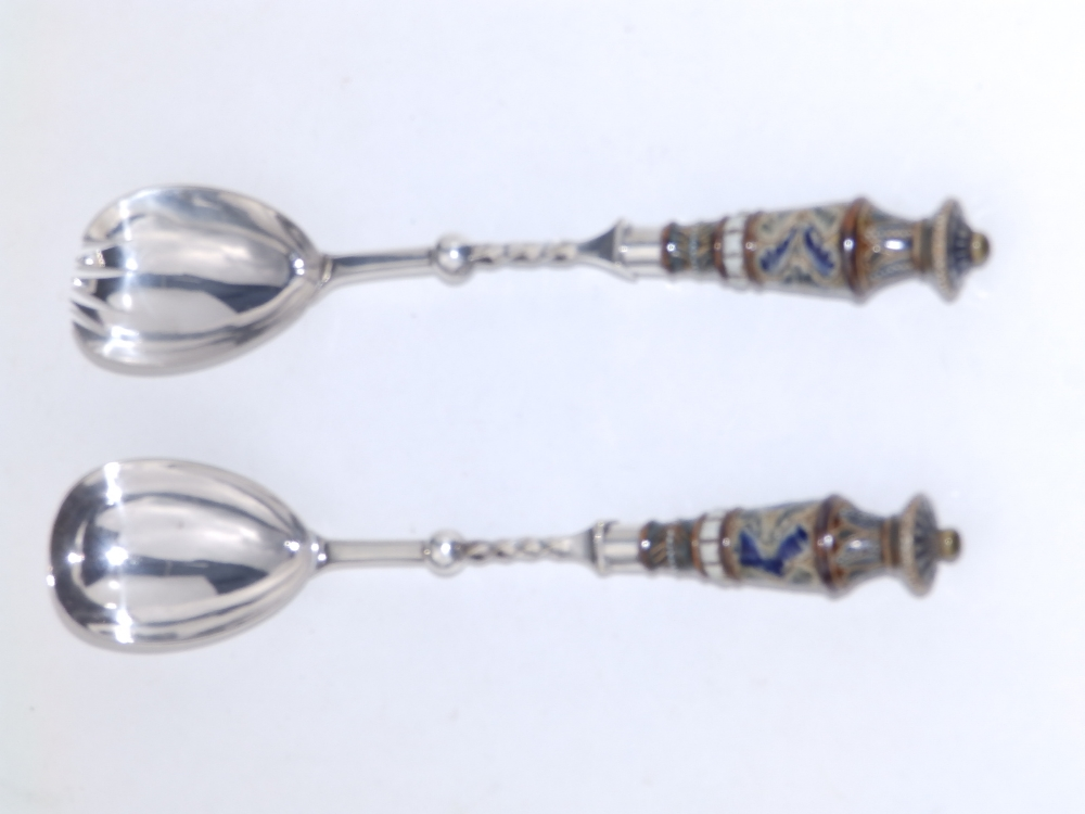 A pair of Doulton EP mounted salad servers. (2) - Image 2 of 3