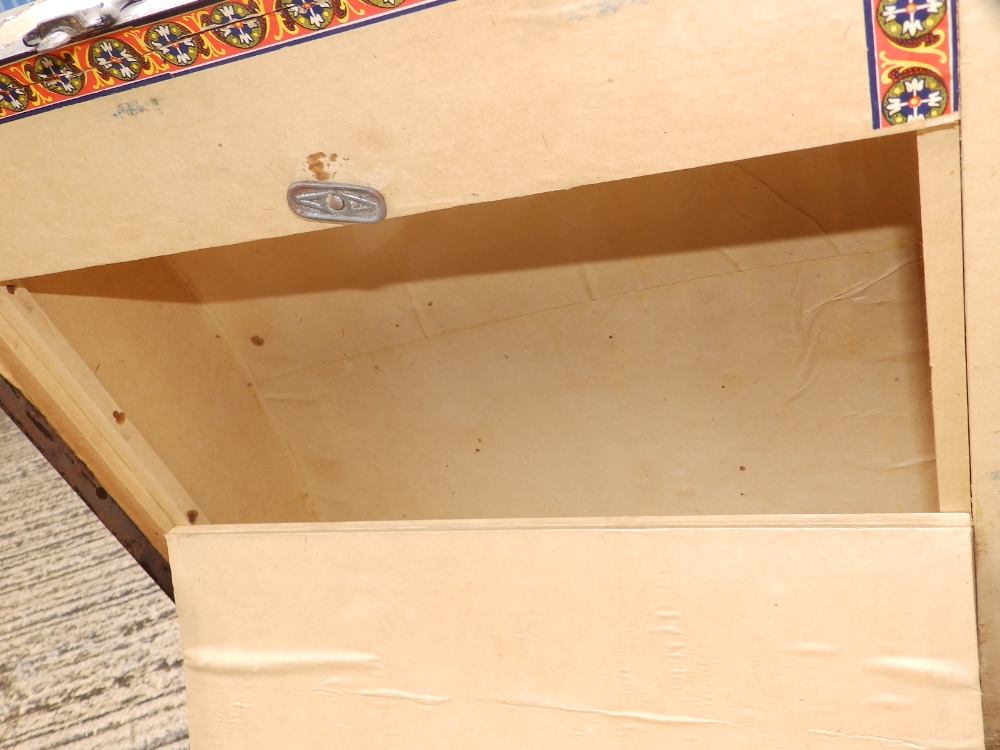 """A domed wooden bound cabin trunk with paper lined interior compartments, 32"""" across. - Image 6 of 10"""
