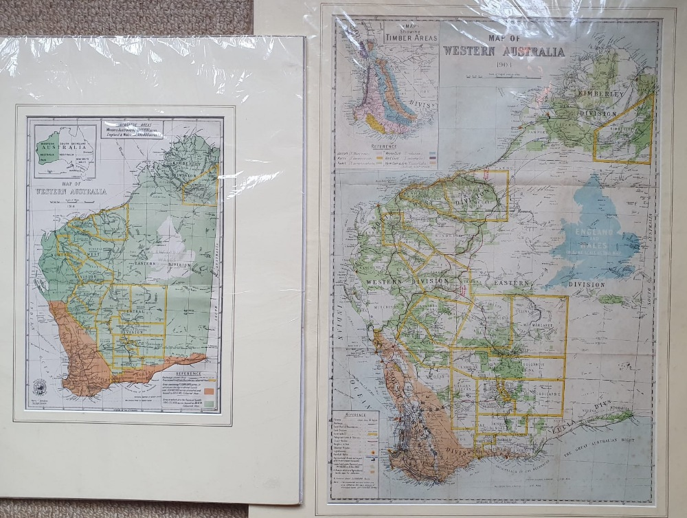 """An early 20thC map of Western Australia, dated '1904', 21.5"""" x 14.4"""" and a smaller 1914 map of WA by"""