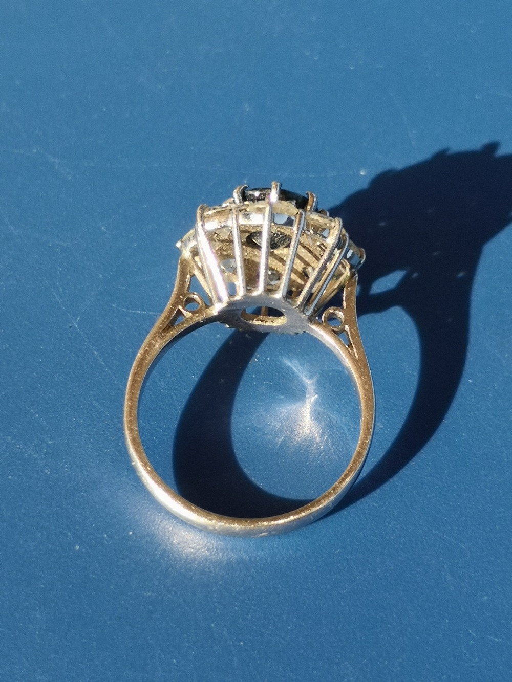 A modern sapphire & diamond 18ct white gold cluster ring - London marks. Finger size L. - Image 3 of 4