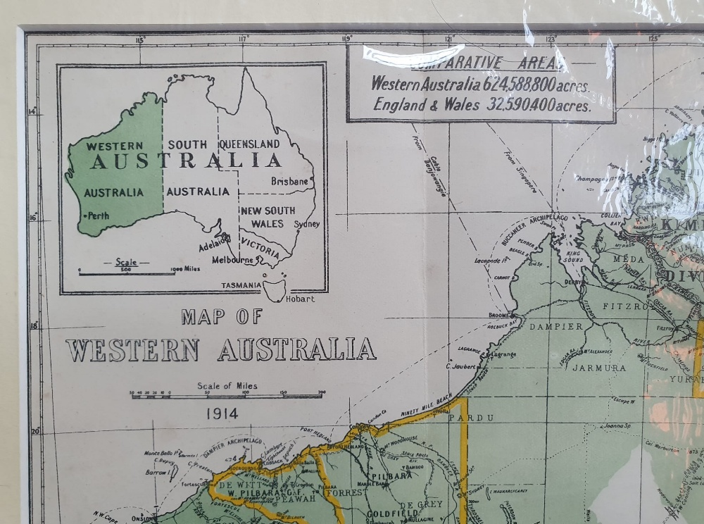 """An early 20thC map of Western Australia, dated '1904', 21.5"""" x 14.4"""" and a smaller 1914 map of WA by - Image 3 of 6"""