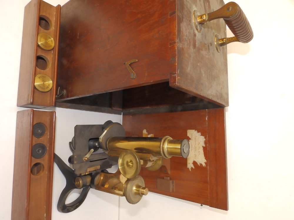 A brass & black lacquered microscope by Henry Crouch, London 9804, bearing War Department marks 'H7' - Image 2 of 4