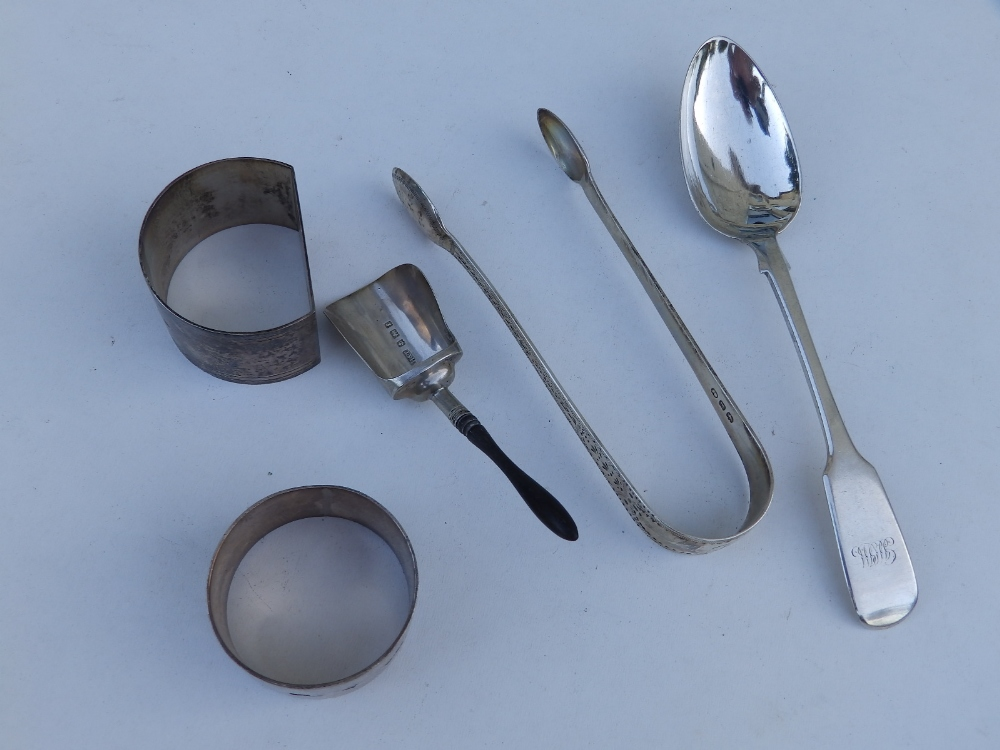 A modern cased Sheffield silver reproduction meat skewer 'paper knife', two napkin rings, a pair - Image 2 of 2