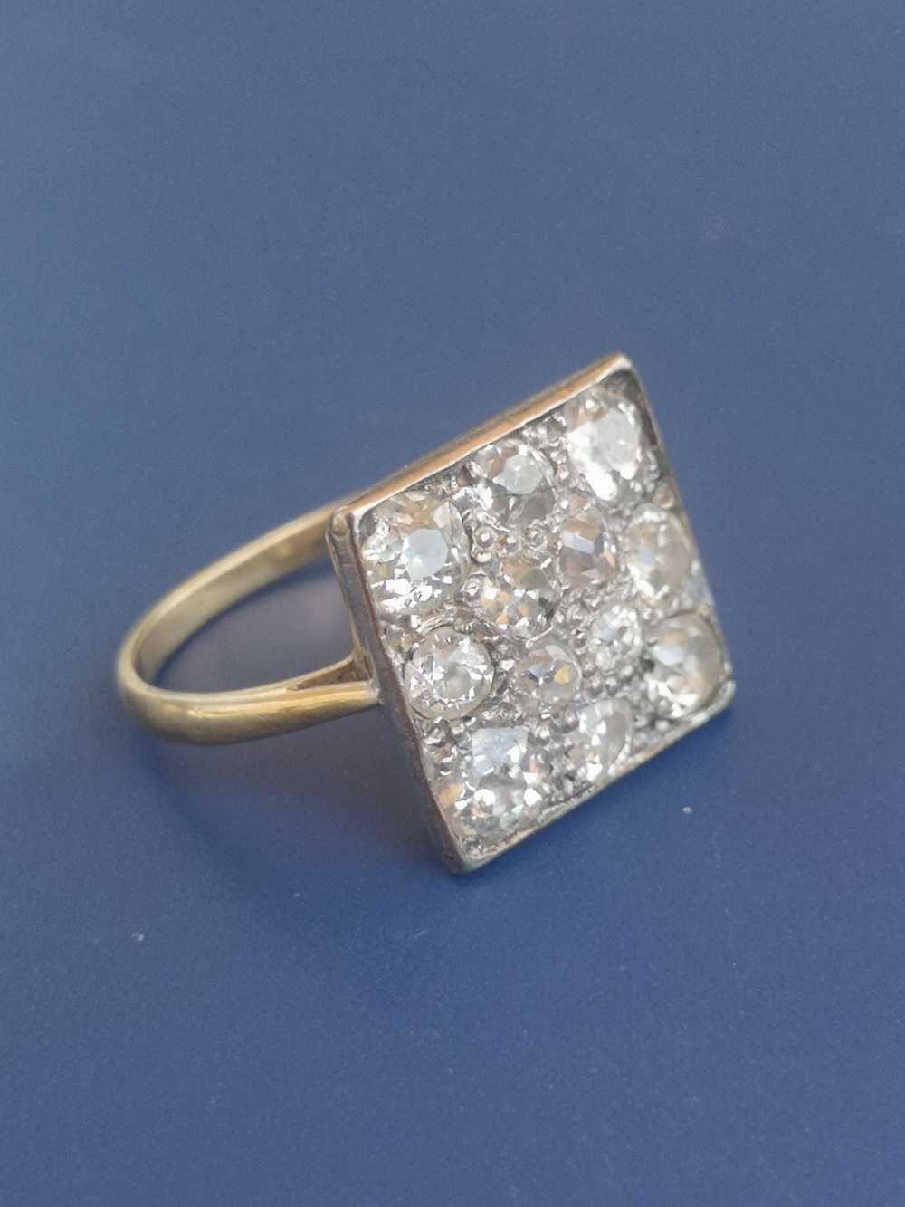 A diamond dress ring having a square pave setting on yellow metal shank. Finger size L. - Image 3 of 5