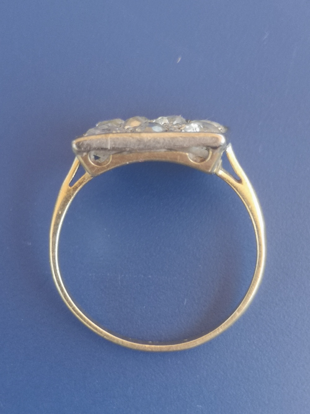 A diamond dress ring having a square pave setting on yellow metal shank. Finger size L. - Image 5 of 5