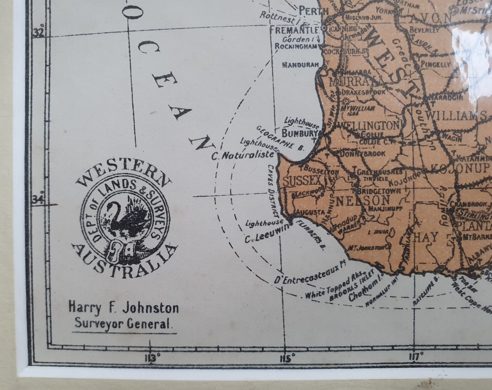 """An early 20thC map of Western Australia, dated '1904', 21.5"""" x 14.4"""" and a smaller 1914 map of WA by - Image 2 of 6"""