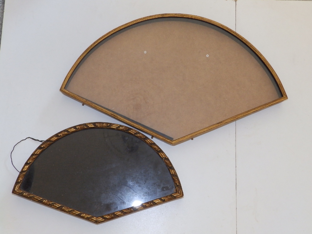 """A gilt metal glazed wall display case for a fan, 20.5"""" across and three gilt wood display cases, the - Image 5 of 5"""