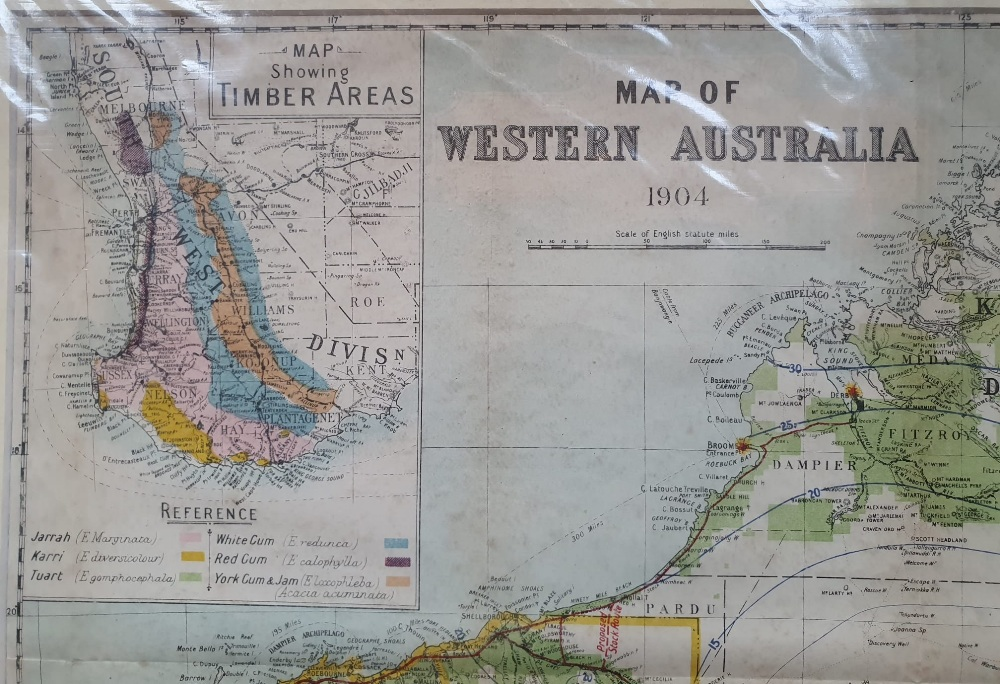 """An early 20thC map of Western Australia, dated '1904', 21.5"""" x 14.4"""" and a smaller 1914 map of WA by - Image 4 of 6"""