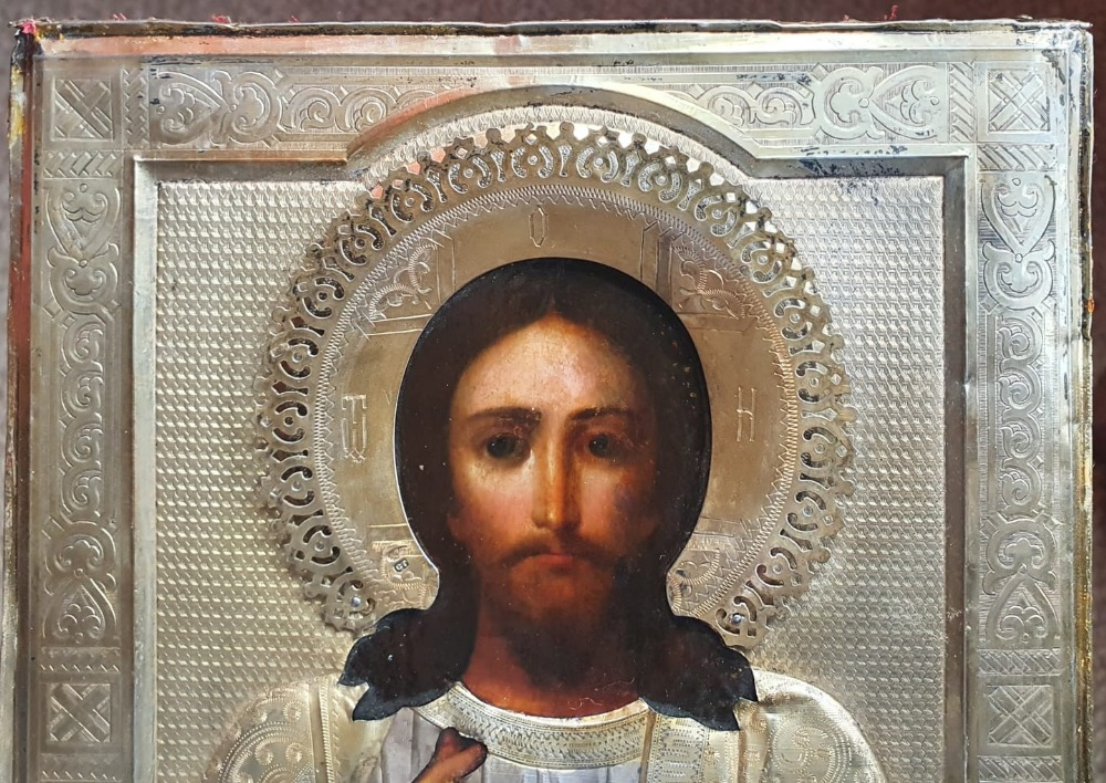 """A Russian silver-gilt icon with painted details, raised halo - hallmarks for 1896-1908 period, 9"""" - Image 3 of 5"""