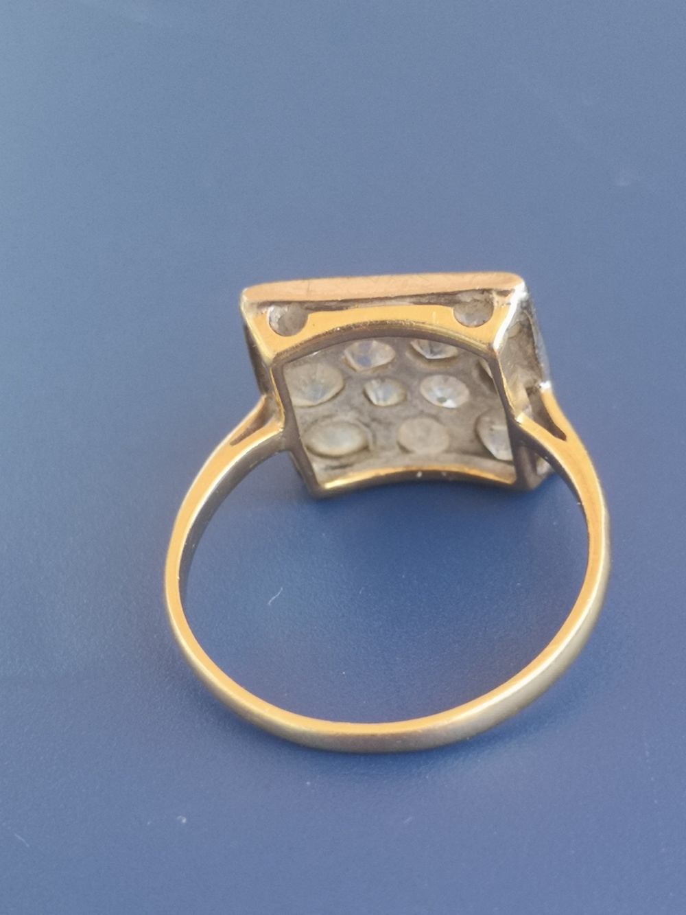 A diamond dress ring having a square pave setting on yellow metal shank. Finger size L. - Image 4 of 5