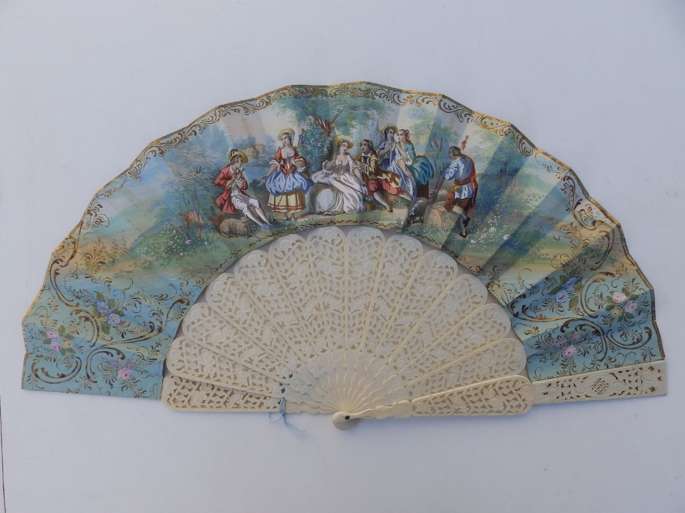 """A large 19thC bone fan, the silk leaf decorated with lace and painted birds, 26"""" across - one - Image 3 of 6"""