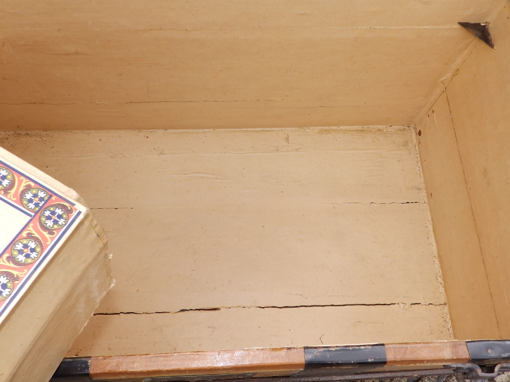 """A domed wooden bound cabin trunk with paper lined interior compartments, 32"""" across. - Image 9 of 10"""