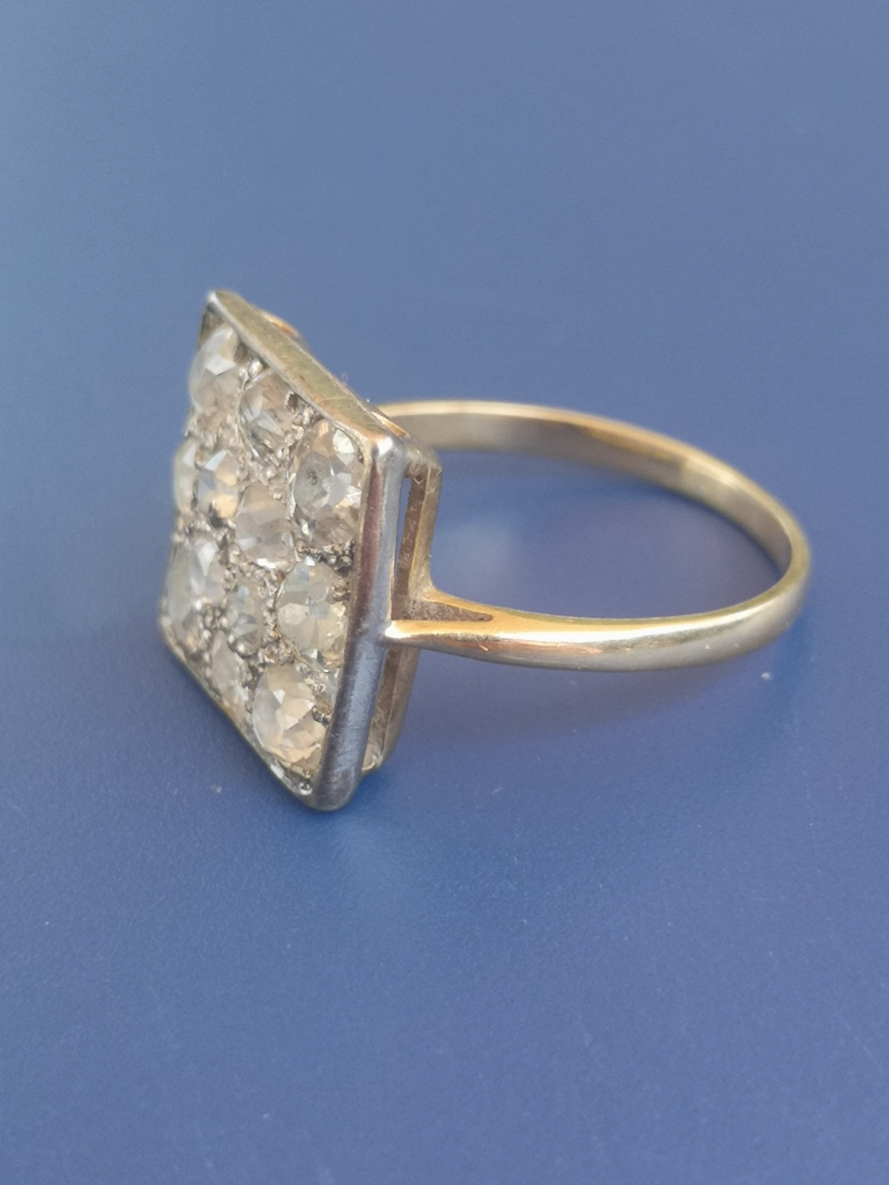 A diamond dress ring having a square pave setting on yellow metal shank. Finger size L. - Image 2 of 5