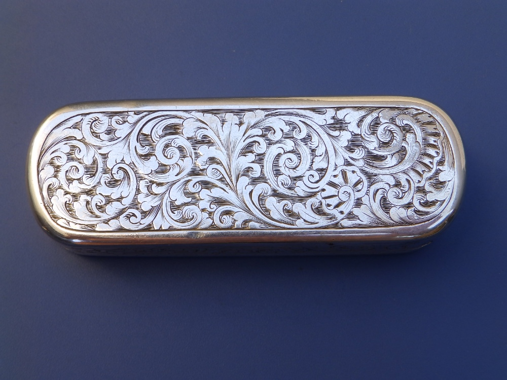 A Victorian crested silver snuff box with overall arabesque leaf scroll engraved decoration, gilt - Image 5 of 6
