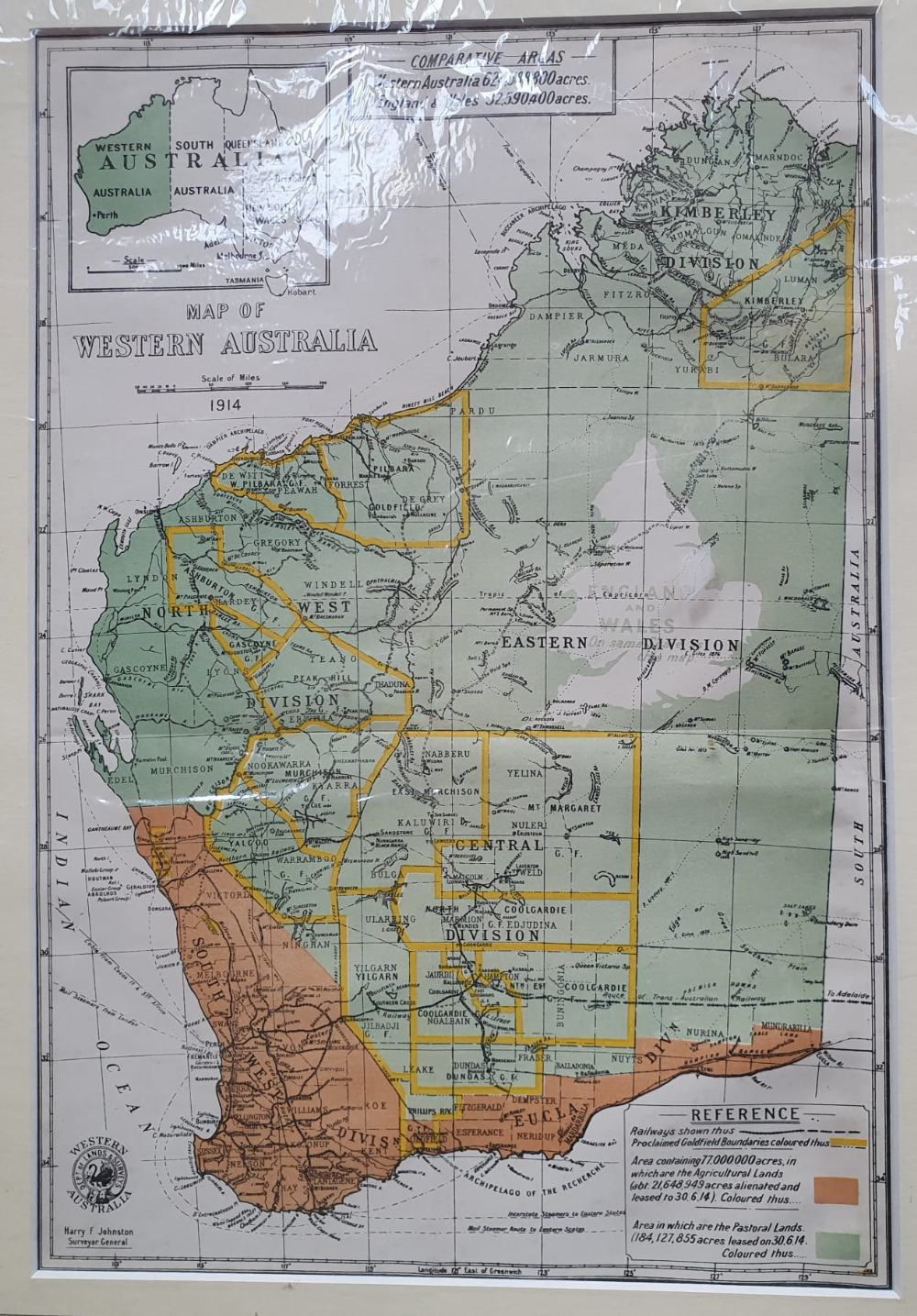 """An early 20thC map of Western Australia, dated '1904', 21.5"""" x 14.4"""" and a smaller 1914 map of WA by - Image 6 of 6"""