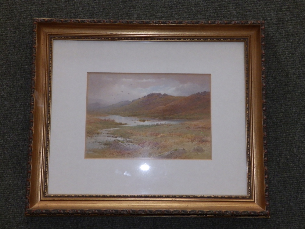 "Charles Edward Brittan (1870-1969) - watercolour - Moorland lake scene, 6.75"" x 9.5"" - signature - Image 2 of 3"