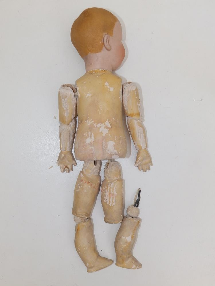 """A German bisque head boy doll with blue painted eyes, painted hair - '6894, 16', 12"""". - Image 3 of 4"""