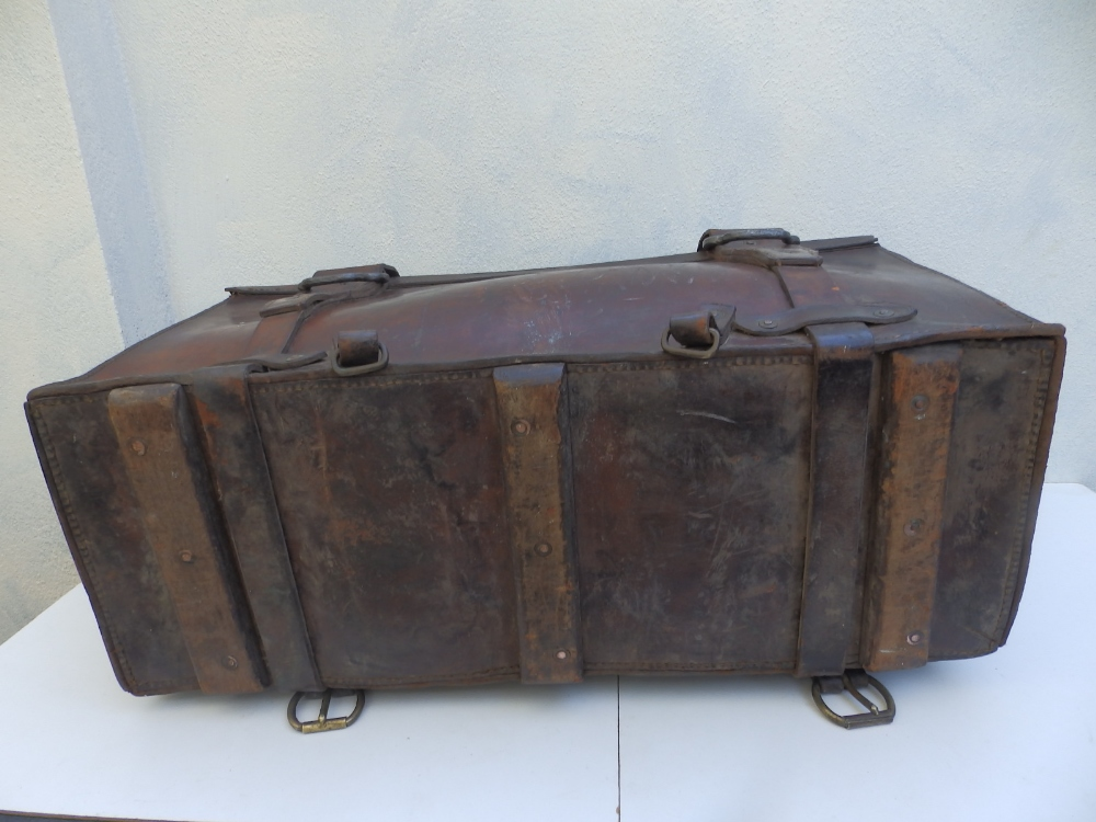 """A heavy duty leather elephant pannier made for an English officer, dated 1942, 29"""" across. - Image 7 of 7"""