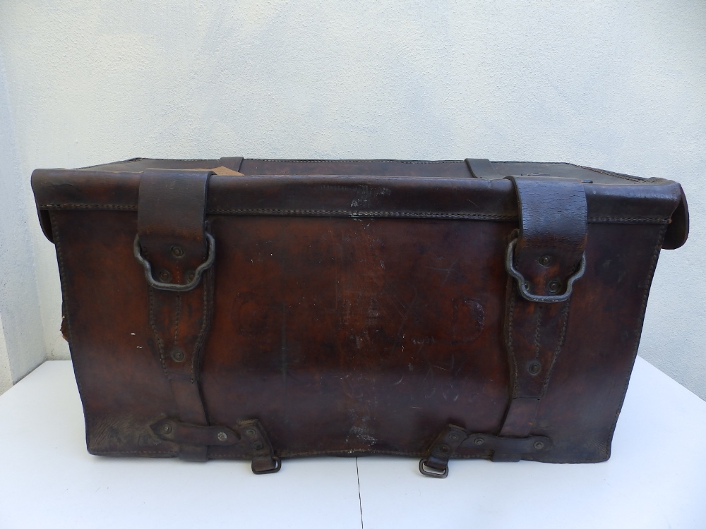 """A heavy duty leather elephant pannier made for an English officer, dated 1942, 29"""" across. - Image 5 of 7"""