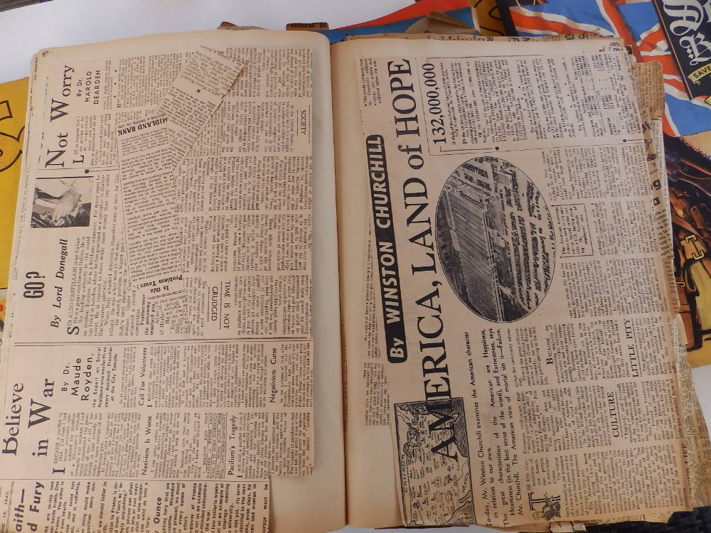 Five WWII period scrapbooks with colour printed covers - 'Save Photographs and Press Cuttings for - Image 7 of 8