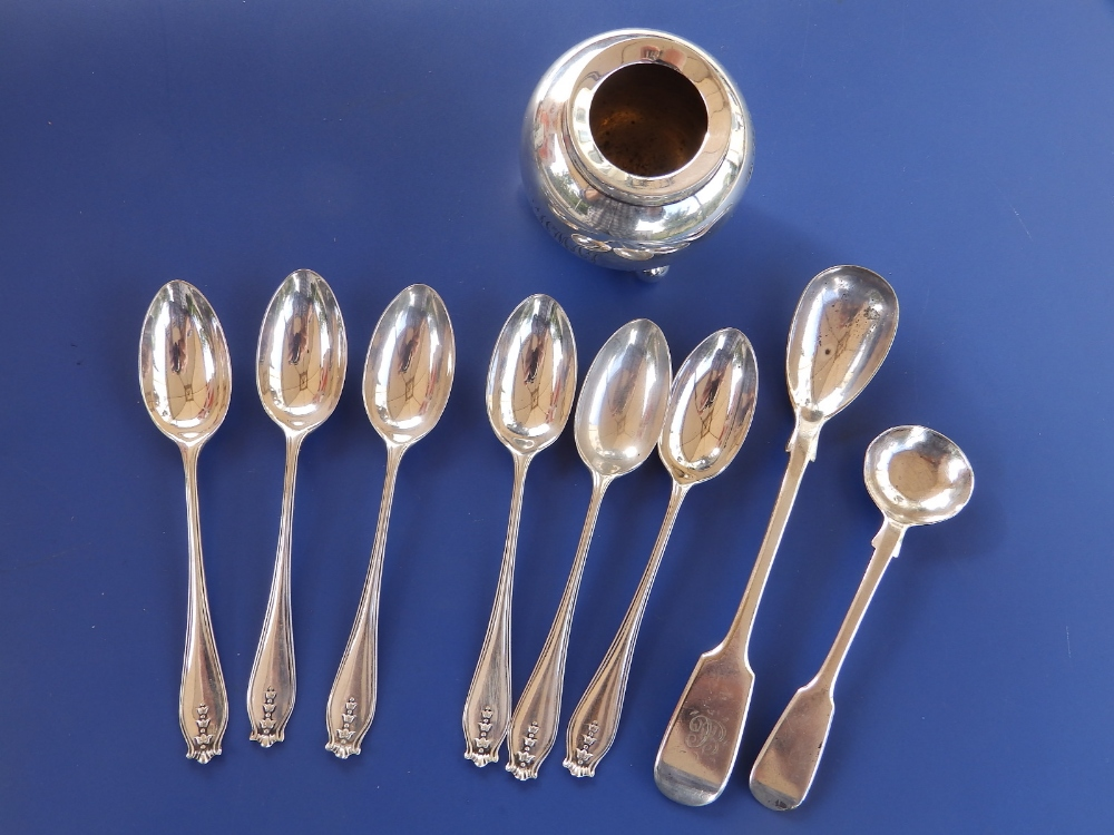 A silver cauldron inkwell - London 1899, six London silver coffee spoons and two others. (9)