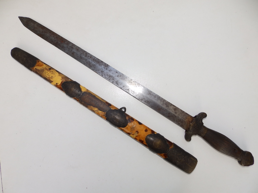 """A Chinese dagger with 16.5"""" blade similar to the previous lot - scabbard distressed. - Image 4 of 4"""