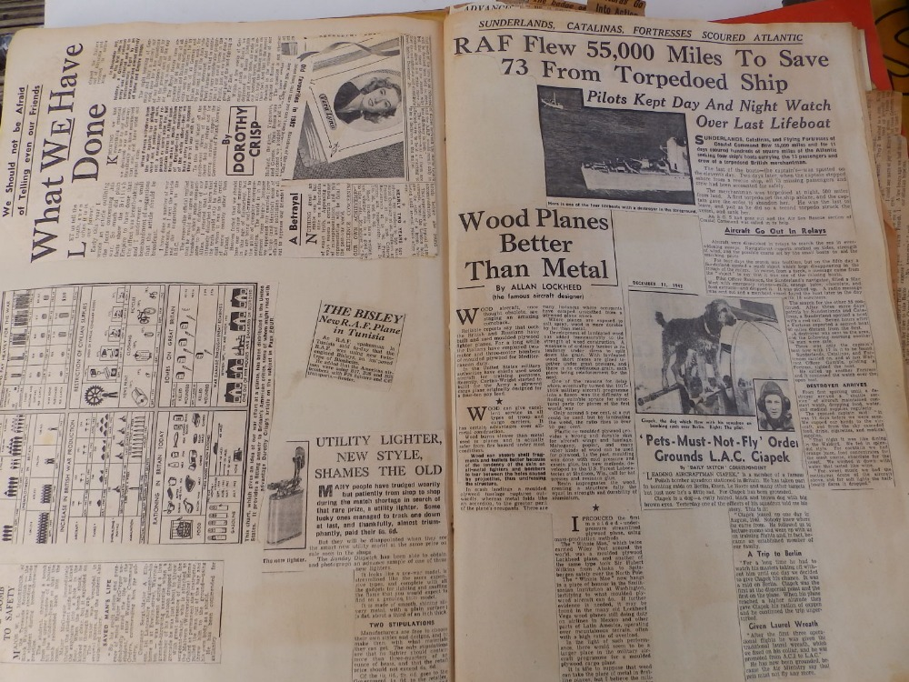 Five WWII period scrapbooks with colour printed covers - 'Save Photographs and Press Cuttings for - Image 6 of 8