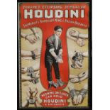 """A large colour Houdini poster -'The World's Handcuff King', 40"""" x 27""""."""