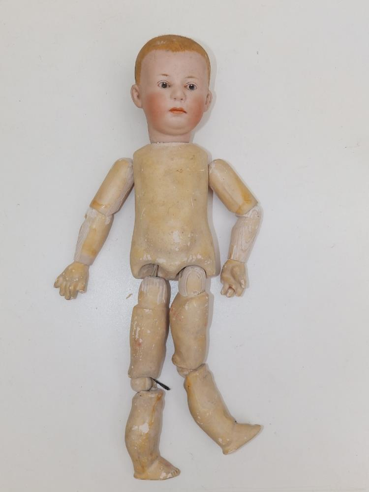 """A German bisque head boy doll with blue painted eyes, painted hair - '6894, 16', 12"""". - Image 2 of 4"""