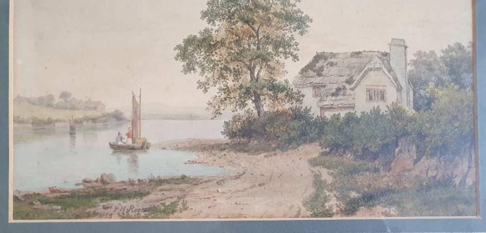"""P H Rogers - watercolour - A house by water with a boat & figures, signed & dated 1852, 8"""" x 10"""". - Image 4 of 4"""