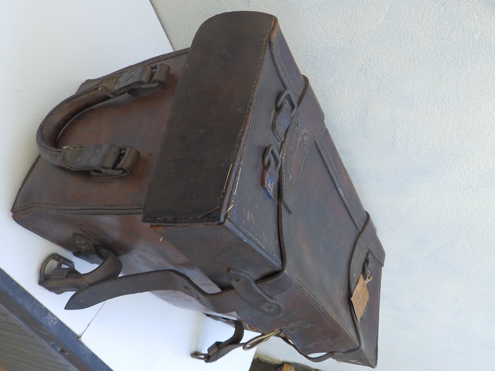 """A heavy duty leather elephant pannier made for an English officer, dated 1942, 29"""" across. - Image 2 of 7"""