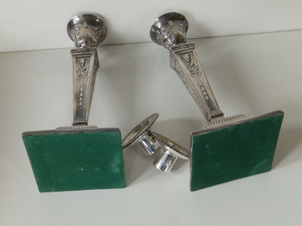A pair of modern silver candlesticks, of square neoclassical form with detachable beaded sconces, - Image 8 of 8