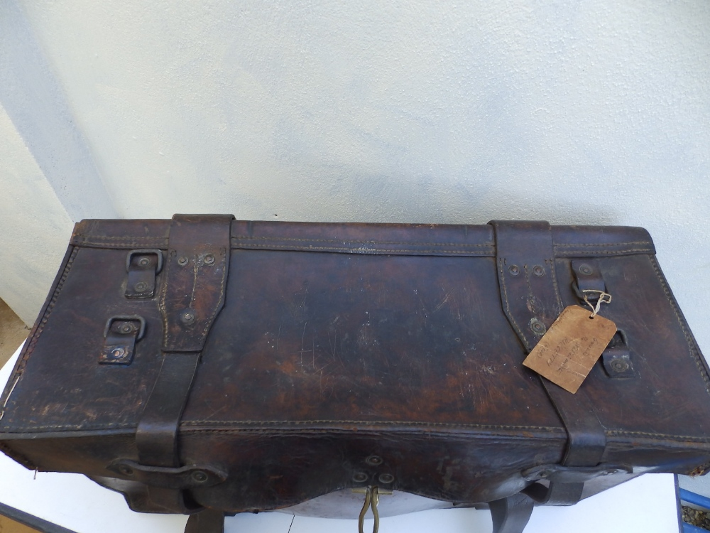 """A heavy duty leather elephant pannier made for an English officer, dated 1942, 29"""" across. - Image 3 of 7"""