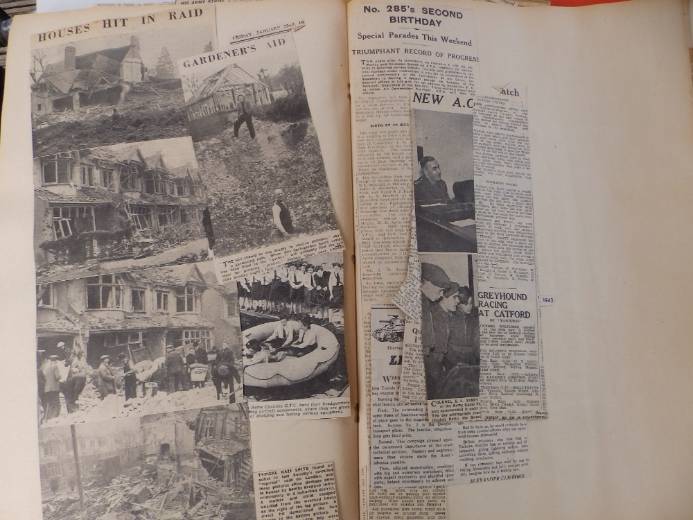 Five WWII period scrapbooks with colour printed covers - 'Save Photographs and Press Cuttings for - Image 5 of 8