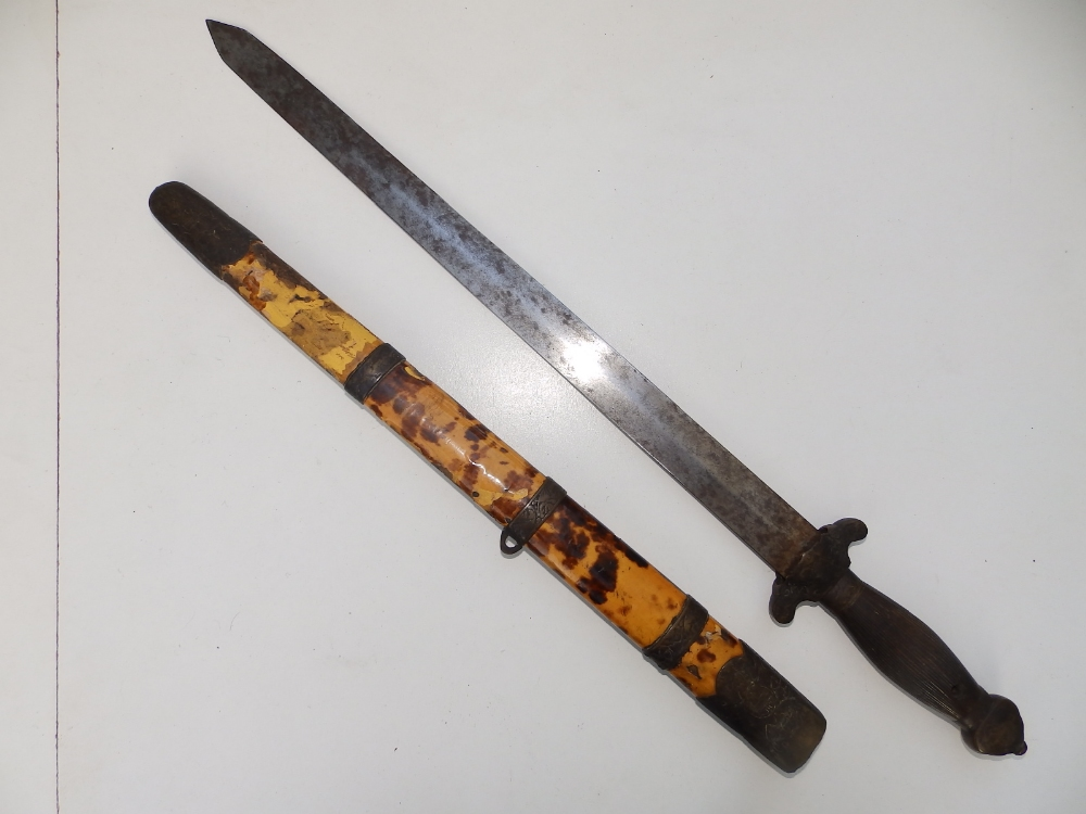 """A Chinese dagger with 16.5"""" blade similar to the previous lot - scabbard distressed."""