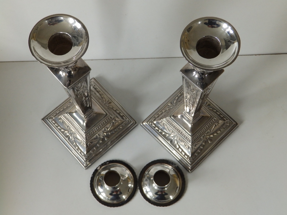 A pair of modern silver candlesticks, of square neoclassical form with detachable beaded sconces, - Image 7 of 8