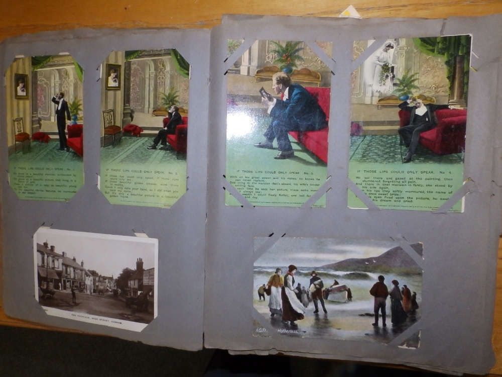 Two old postcard albums conatining approximately 200 cards including WWI subjects and humorous. - Image 7 of 9