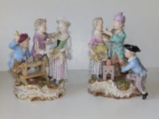 A pair of 19thC Meissen porcelain figure groups each depicting the amorous advances of a youthful