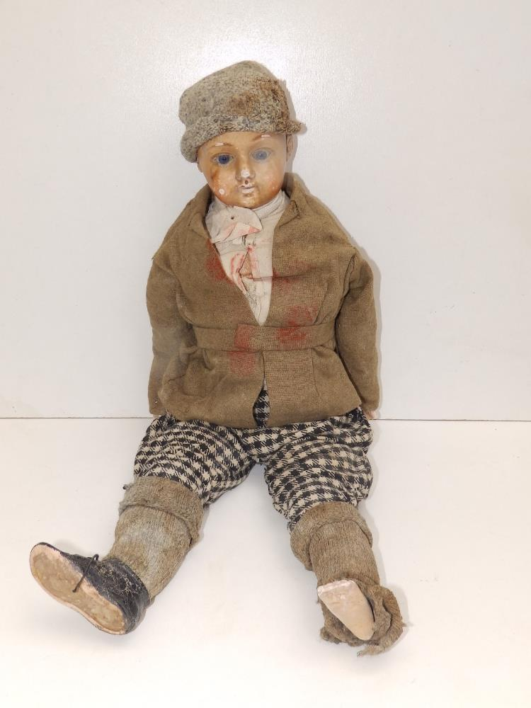 """A wax-headed boy doll with blue paperweight eyes, 18"""" overall. - Image 2 of 4"""